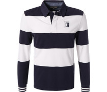 Rugby-Shirt, Baumwolle, navy-off white gestreift