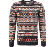 Pullover, Wolle, navy gemustert