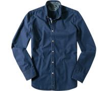 Hemd, Shaped Fit, Baumwolle, indigo
