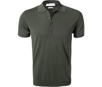 Polo-Shirt, Baumwoll-Strick, dunkel
