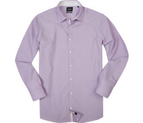 Hemd, Slim Fit, Baumwolle, flieder-weiß meliert