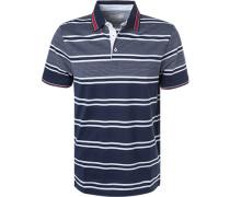 Polo-Shirt, Baumwoll-Jersey, navy-weiß gestreift