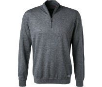 Pullover Troyer, Modern Fit, Wolle, anthrazit