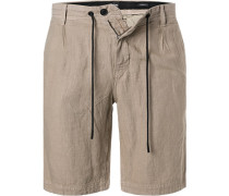 Hose Shorts, Tapered Fit, Leinen, natur
