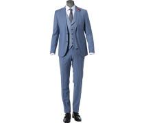 Anzug mit Weste, Slim Fit, Schurwolle, bleu