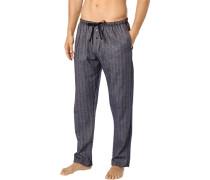 Pyjamahose, Flanell, marine gemustert