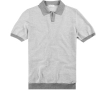 Polo-Shirt, Baumwoll-Strick, weiß- gemustert