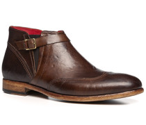 Schuhe Stiefeletten, Leder, testa di moro