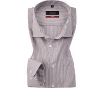 Hemd, Modern Fit, Popeline, -grau gestreift