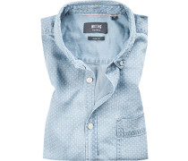 Kurzarmhemd, Slim Fit, Denim, bleu gemustert