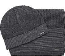 Mütze+Schal, Wolle, grau meliert