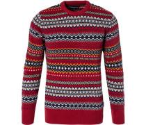 Pullover, Wolle, erdbeer- ockergelb