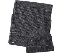 Mütze+Schal, Wolle, schwarz- meliert