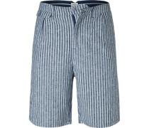 Hose Shorts, Leinen, navy-weiß gestreift