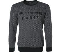 Pullover, Wolle, -schwarz gemustert