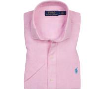 Kurzarmhemd, Leinen, pink