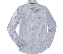 Hemd, Slim Fit, Baumwolle, weiß-  gestreift