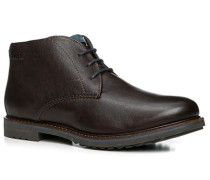 Schuhe Stiefelette, Leder warm gefüttert, dunkel