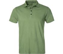 Polo-Shirt, Baumwoll-Jersey, schilf meliert