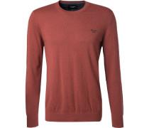 Pullover, Baumwolle-Kaschmir, rot meliert