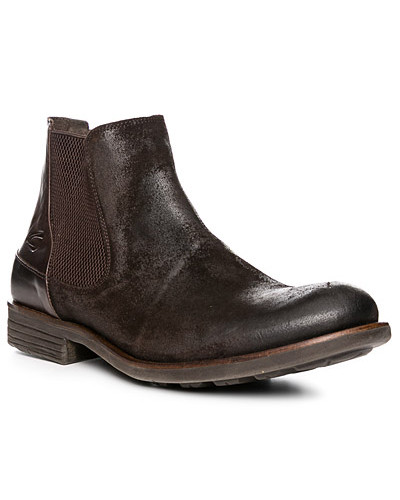 Camel Active Herren Schuhe Chelsea Boots, Veloursleder, dunkel