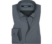 Hemd, Slim Fit, Popeline, -grau gemustert
