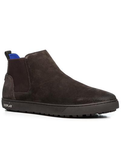 Replay Herren Schuhe Chelsea Boots, Veloursleder, dunkel