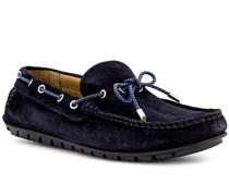 Schuhe Mokassin, Veloursleder, navy