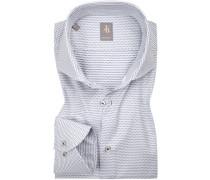 Hemd, Custom Fit, Popeline, weiß- gepunktet