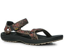 Schuhe Sandalen, Textil, taupe-rot gemustert