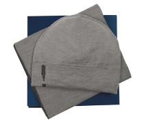 Mütze+Schal, Schurwolle, mittel meliert