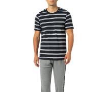 T-Shirt, Baumwolle, navy-weiß gestreift