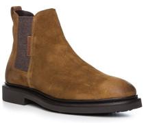 Schuhe Chelsea-Boots, Veloursleder, cognac