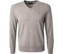 Pullover, Merinowolle, grau meliert