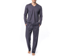 Schlafanzug Pyjama, Baumwolle, anthrazit