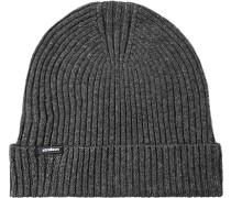 Mütze, Baumwolle-Wolle, dunkel meliert