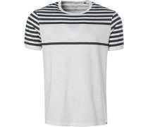 T-Shirt, Baumwolle, off white gestreift