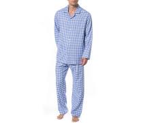 Schlafanzug Pyjama, Flanell,  kariert