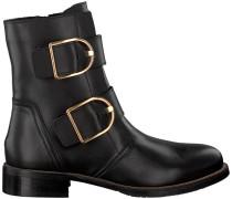Schwarze Chelsea Boots Oversized Buckle Flat Boot