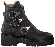 Schwarze Nubikk Biker Boots Fae Buckle Fur
