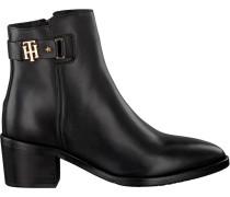 Schwarze Stiefeletten Buckle MID Heel Boot Leather