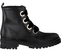 Schwarze Schnürboots Metallic Cleated Lace UP Boot