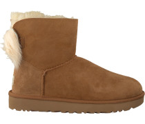 Camelfarbene UGG Ankle Boots Fluff BOW Mini
