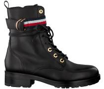 Schwarze Tommy Hilfiger Biker Boots Corporate Ribbon