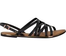 Schwarze Sandalen Strappy Flat Sandal