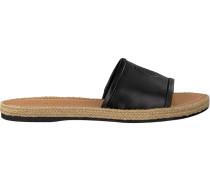 Schwarze Pantolette Leather Flat Mule