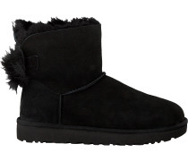 Schwarze Ugg Ankle Boots Fluff Bow Mini