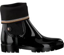 Schwarze Stiefeletten Knitted Sock Rain Boot
