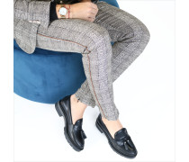 Schwarze Loafer Metallic Leather Loafer