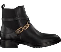 Schwarze Stiefeletten Chain Bootie Leather